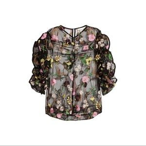 H&M Embroidered Sheer Top